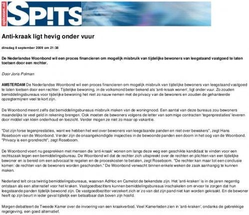 Anti-kraak ligt hevig onder vuur. SPITS 08-09-2009
