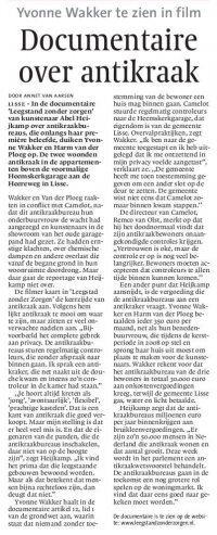 Documentaire over anti-kraak LEIDSCH DAGBLAD 10-09-2009
